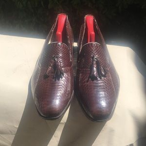 Florsheim gunuine snake skin  tassel loafers